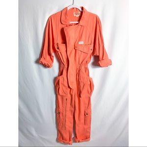 Vtg Escape From Paris Orange Denim Jumpsuit